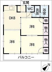 栗木山ハイツ1・2棟[1階]の間取り