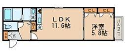 シャーメゾン内沼B 3階1LDKの間取り