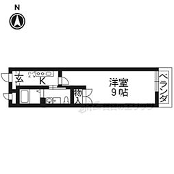 京都地下鉄東西線 椥辻駅 徒歩3分の賃貸マンション 2階1Kの間取り