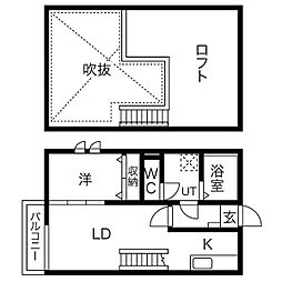 愛知県名古屋市熱田区大宝3丁目の賃貸アパートの間取り