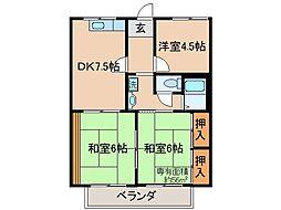 京都府宇治市伊勢田町遊田の賃貸アパートの間取り
