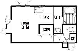 ヴィクトワール澄川 2階1Kの間取り