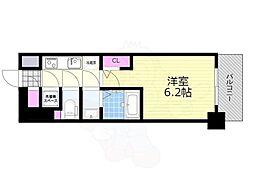 阪急京都本線 南方駅 徒歩10分の賃貸マンション 6階1Kの間取り