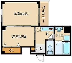 フォンテーヌ藤井寺 3階1DKの間取り