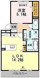 岡山県倉敷市児島田の口2丁目の賃貸アパートの間取り