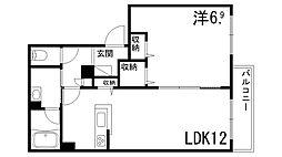シャーメゾンしきさいII 2階1LDKの間取り