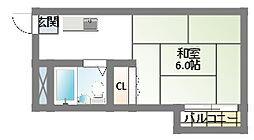 京阪本線 西三荘駅 徒歩3分の賃貸アパート 2階1Kの間取り