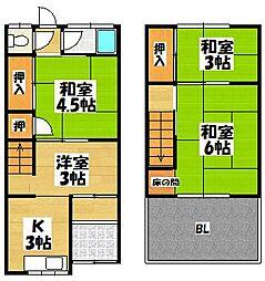 [一戸建] 大阪府東大阪市新庄2丁目 の賃貸【/】の間取り