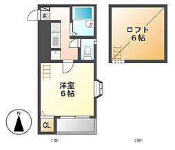 ロフト(Loft)日比野[2階]の間取り