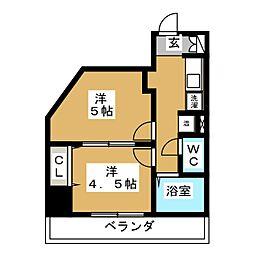 タウンエステート新栄[2階]の間取り