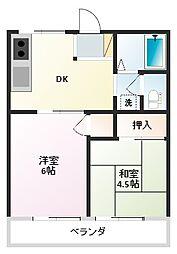 大阪府四條畷市中野2丁目の賃貸アパートの間取り