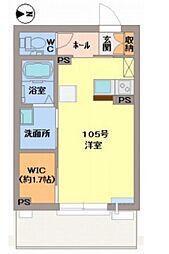 JR津山線 法界院駅 徒歩20分の賃貸マンション 1階1SKの間取り