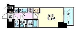 プレサンス塚本駅前 2階1Kの間取り