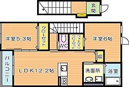 仮)本城東2丁目新築アパート[2階]の間取り