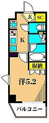 プレール・ドゥーク品川南大井 3階1Kの間取り