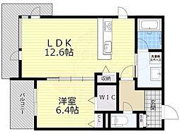 阪急京都本線 高槻市駅 徒歩18分の賃貸マンション 2階1LDKの間取り