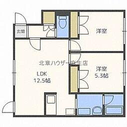 北海道札幌市北区拓北四条1の賃貸アパートの間取り