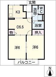 ハイツ花水木[2階]の間取り
