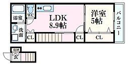 RIDERE(リーデレ)光南 3階1Kの間取り