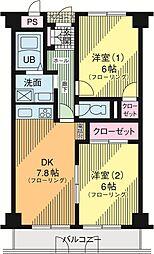 ディーセントハウスB棟 1階2DKの間取り