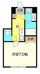 東京都国分寺市泉町1の賃貸アパートの間取り