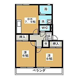 プリムローズカンザ B棟[1階]の間取り