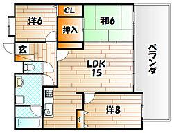 福岡県北九州市戸畑区中原東3丁目の賃貸マンションの間取り