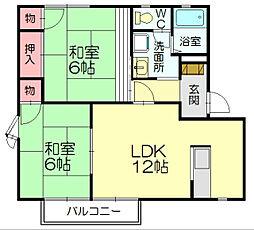 福岡県福岡市博多区東平尾1丁目の賃貸アパートの間取り