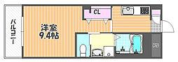 JR宇野線 大元駅 バス14分 浜野西下車 徒歩8分の賃貸マンション 2階1Kの間取り
