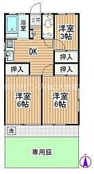 第4清和荘 1階3DKの間取り