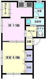秋田県大仙市富士見町の賃貸アパートの間取り