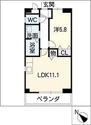 本山ハイツ 3階1LDKの間取り