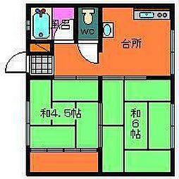 中村アパート[403号室]の間取り