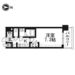 京都市営烏丸線 十条駅 徒歩3分の賃貸マンション 6階1Kの間取り