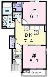 広島県福山市東川口町5の賃貸アパートの間取り