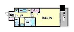 アドバンス大阪ブリアント 15階1Kの間取り
