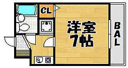 兵庫県川西市花屋敷山手町の賃貸マンションの間取り