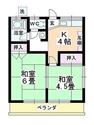 ナカノシマハイツ[205号室]の間取り