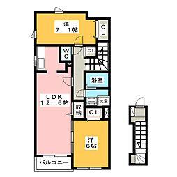 静岡県浜松市北区大原町の賃貸アパートの間取り