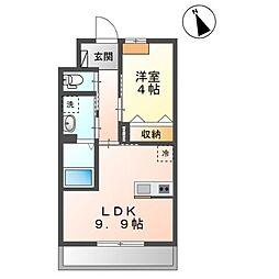 袖ケ浦市奈良輪2350番地新築アパート 1階1LDKの間取り