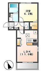 D−room横堀町 B棟[3階]の間取り