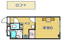 大阪府高槻市高垣町の賃貸アパートの間取り