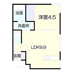 北海道札幌市北区北十六条西4丁目の賃貸マンションの間取り