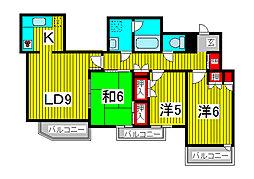 グランドゥール蕨市民公園[4階]の間取り