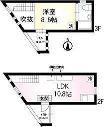 JR山手線 巣鴨駅 徒歩8分の賃貸マンション 2階1LDKの間取り