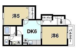 奈良県大和郡山市額田部北町の賃貸アパートの間取り