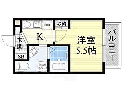 セレニテ日本橋EST 9階1Kの間取り