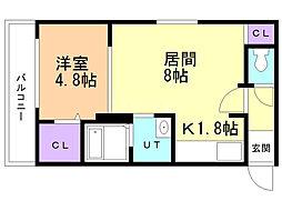 ルーチェ澄川 2階1LDKの間取り