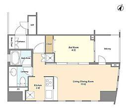 JR山手線 目黒駅 徒歩1分の賃貸マンション 10階1LDKの間取り