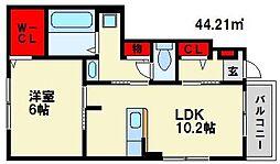 ボンヌ・シャンスII 1階1LDKの間取り
